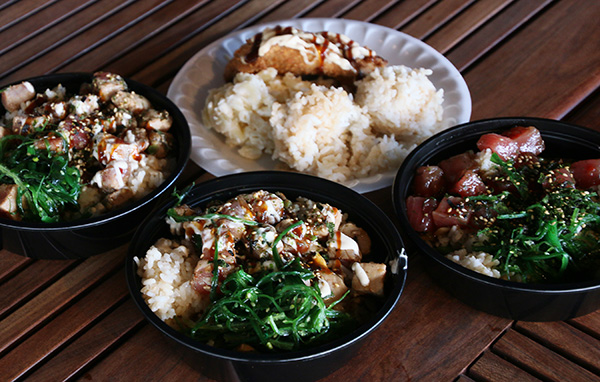 picture of 3 poke bowls and a plate of ahi katsu with rice