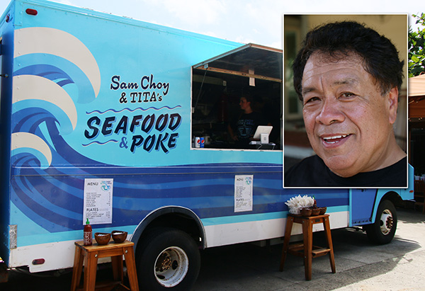 Picture of Sam Choy Poke Truck with inset of Chef Sam Choy