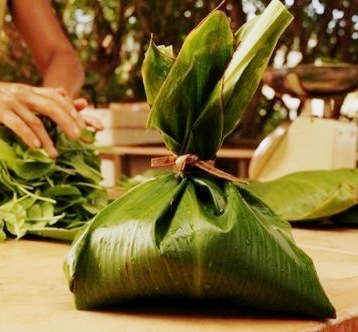 palusami wrapped in a ti leaf