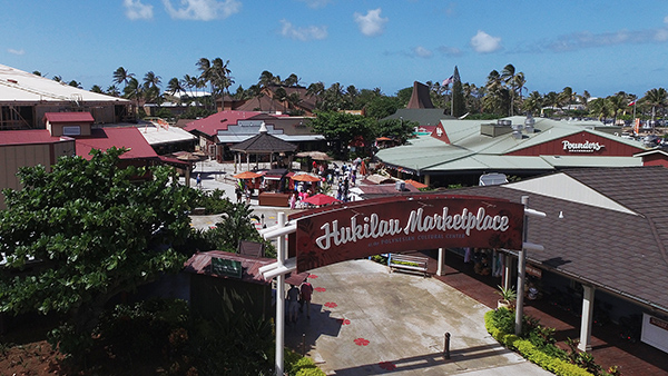 Aerial picture of the popular Hukilau Marketplace now at the entrance to the Polynesian Cultural Center.
