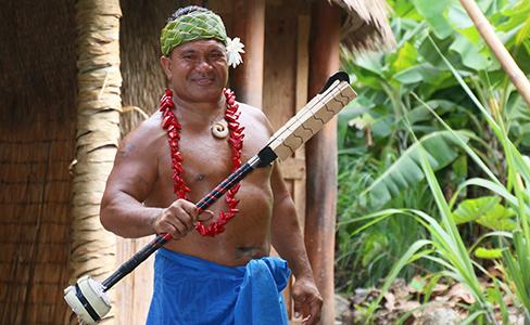 PCC Samoan cultural ambassador, knife dancer and artist Kap Te'o-Tafiti show his first knife rig.