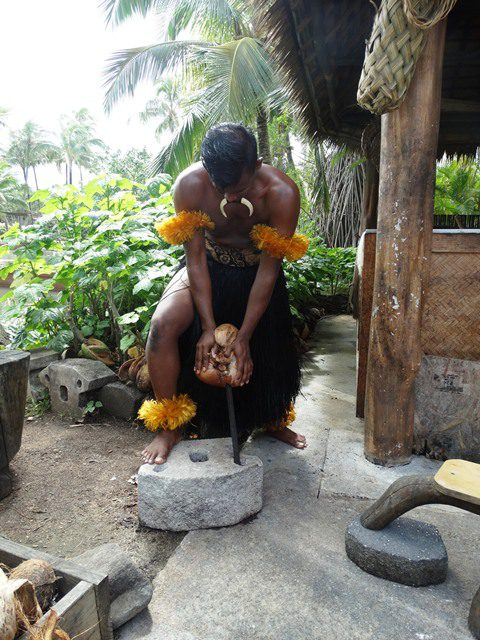 Picture of coconut preparation at Fiji Village at the Polynesian Cultural Center