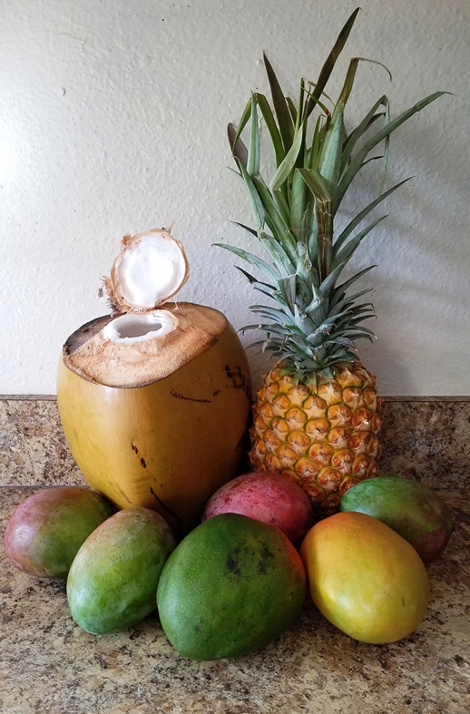 Picture of fresh coconut, pineapple and mangoes for Mango Otai