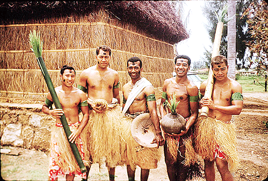 Fijian villagers at the Polynesian Cultural Center. 1963.