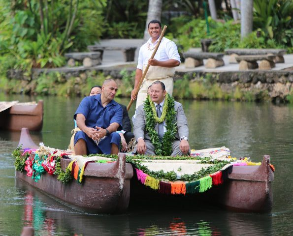 Picture of the King of Tonga with President Grace of the Polynesian Cultural Center