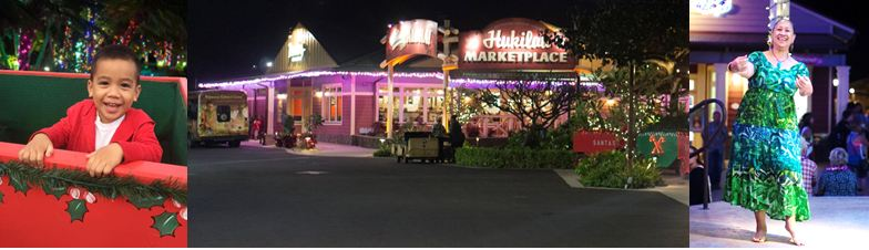 collage of Christmas in Polynesia at the Hukilau Marketplace