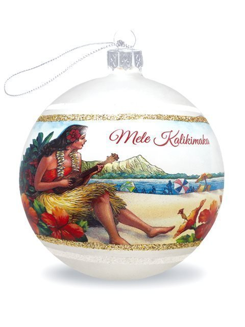 image of Vintage Hawaii Glass Ball Ornament