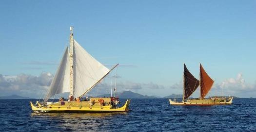 Photo of the Alingno Maisu and Hokule'a heads towards Satawal, Micronesia, 2007