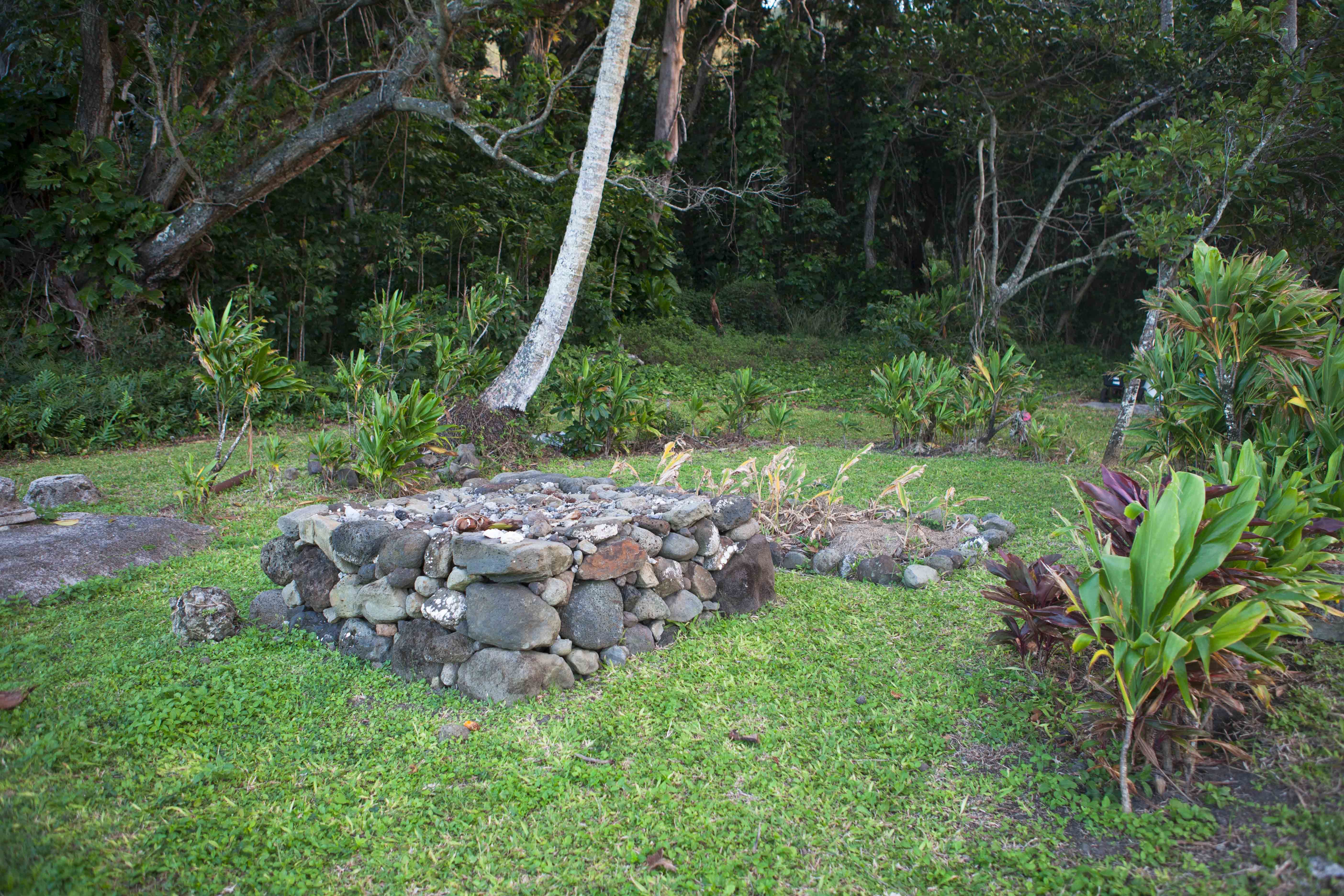 An example of a ko'a shrine near Kahana Stream - photo courtesy of Active Oahu