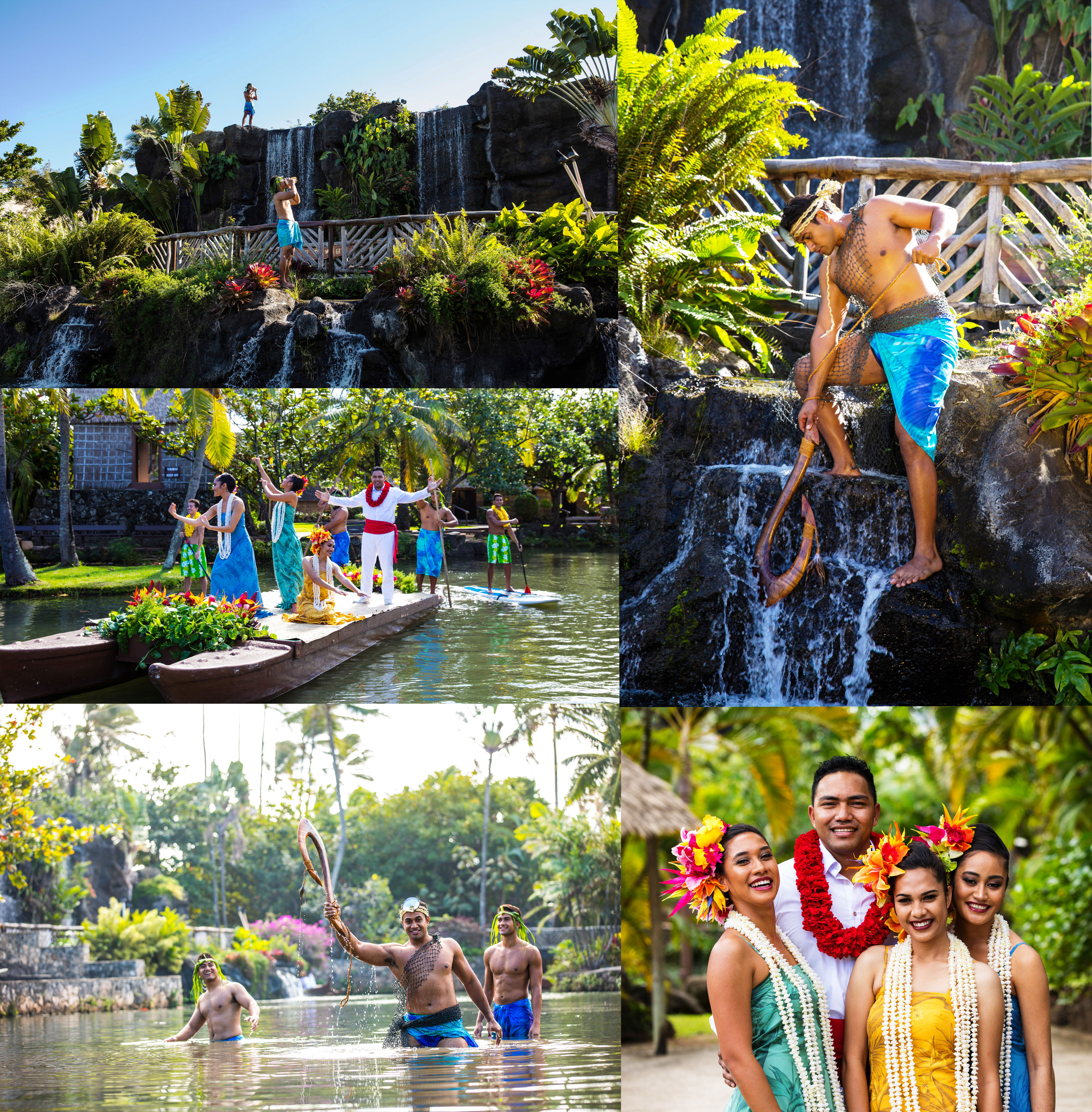 Collage of pictures from the upcoming HUKI Canoe Pageant at the Polynesian Cultural Center