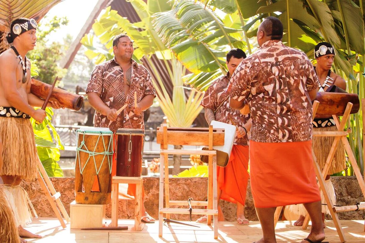 Picture of Cook Island drummers at the Polynesian Cultural Center in 2017