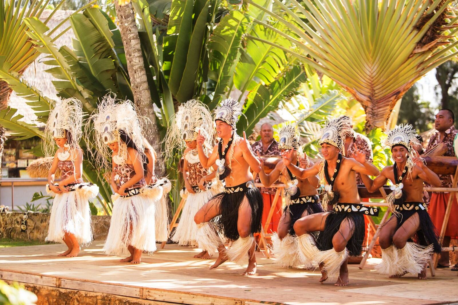 Picture of the male dancers performing at the Polynesian Cultural Center in 2017