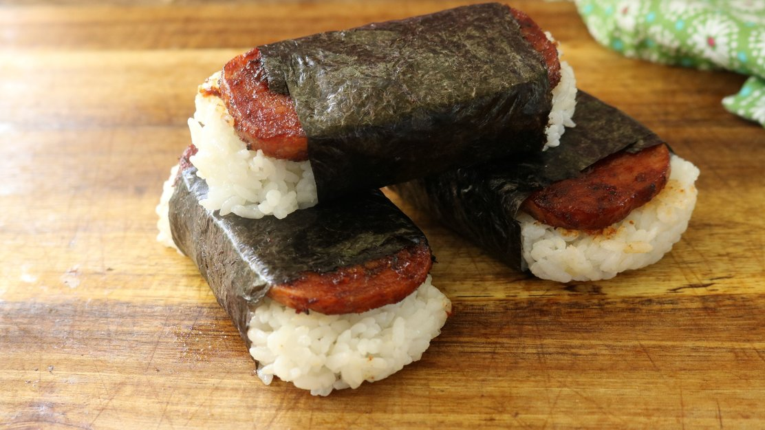 Picture of plain Spam Musubi. Photo courtesy of Armadillo Pepper