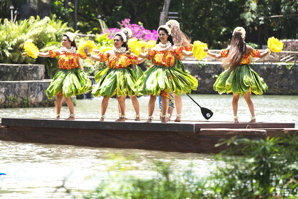 photo of Polynesian Cultural Center's Hawaiian War Change costumes for their production of Huki: A Canoe Celebration