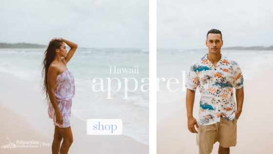 Woman and man on the beach. Find cover-up or aloha shirt on shop.polynesia.com