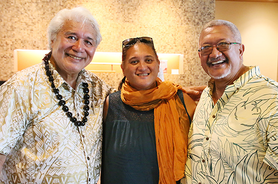 (left-right) Papalii Dr. Tusi Avegalio, Pomai Bertelmann and Chadd Paishon at breadfruit conference in Laie