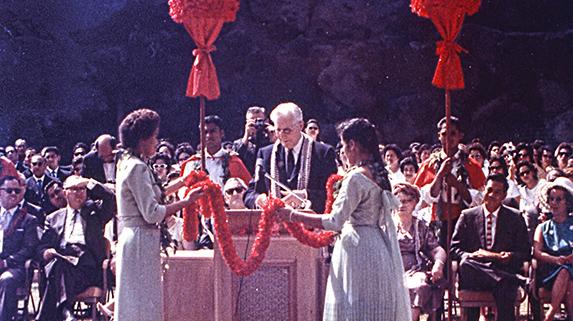 President Hugh B. Brown at the Polynesian Cultural Center, 1963