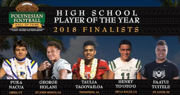 photo of the five finalists for the Polynesian Football Hall of Fame for 2018.