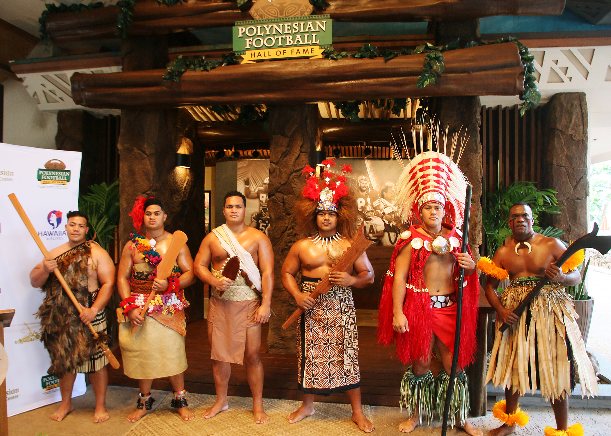 Honor guard stands for inductee ceremony at the Polynesian Football Hall of Fame.
