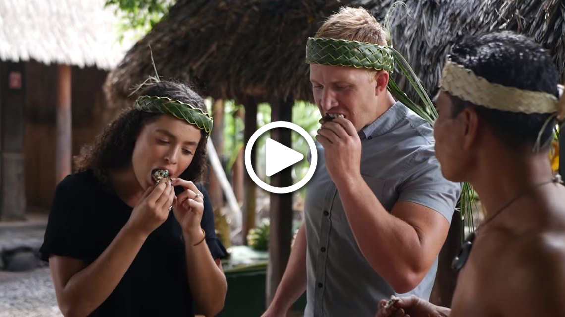 picture link to video clip regarding hands-on Polynesian cooking experience at the Polynesian Cultural Center