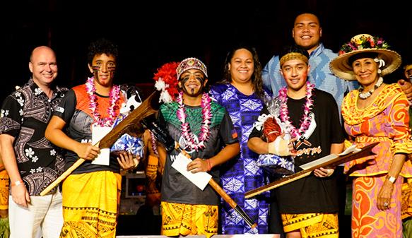 Mose Lilo, Haukea Moua and Mamalu Lilo at the Polynesian Cultural Center