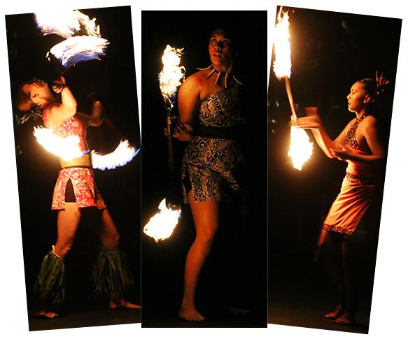 Jeralee Galea'i, Moemoana Schwenke, Huang Sih Ping at the Polynesian Cultural Center
