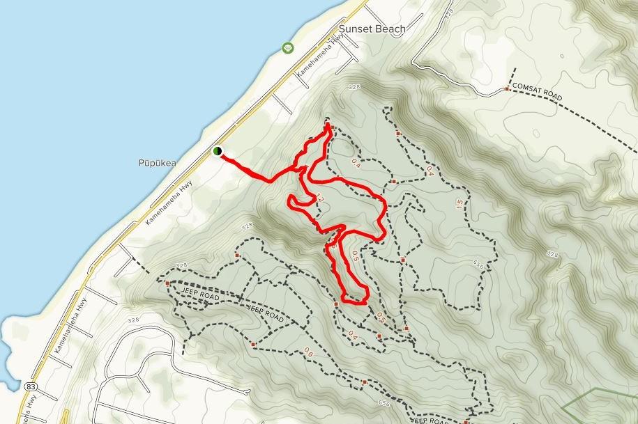 Map of Ehukai Pillbox trail courtesy of AllTrails