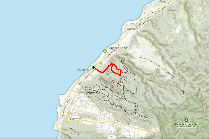 Map of Ehukai / Sunset Pillbox trail courtesy of AllTrails