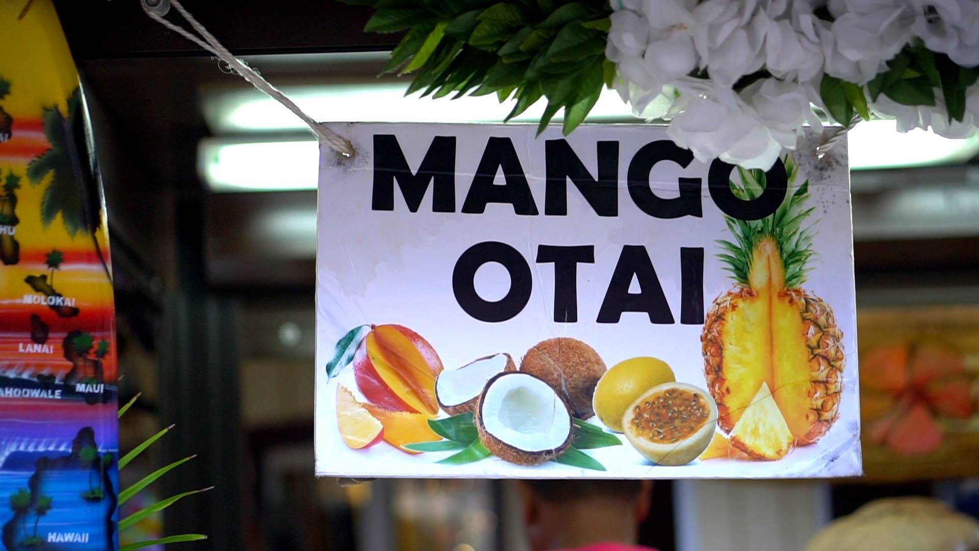 Picture of the sign for Mango Otais at Fia Fia Farms in the Hukilau Marketplace