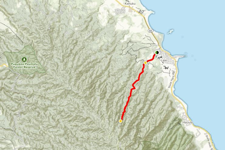 Map of La'ie Falls trail courtesy of AllTrails