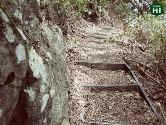 photo of steps built into the Ma'akua Ridge Trail outside of Hau'ula, Oahu, Hawai'i