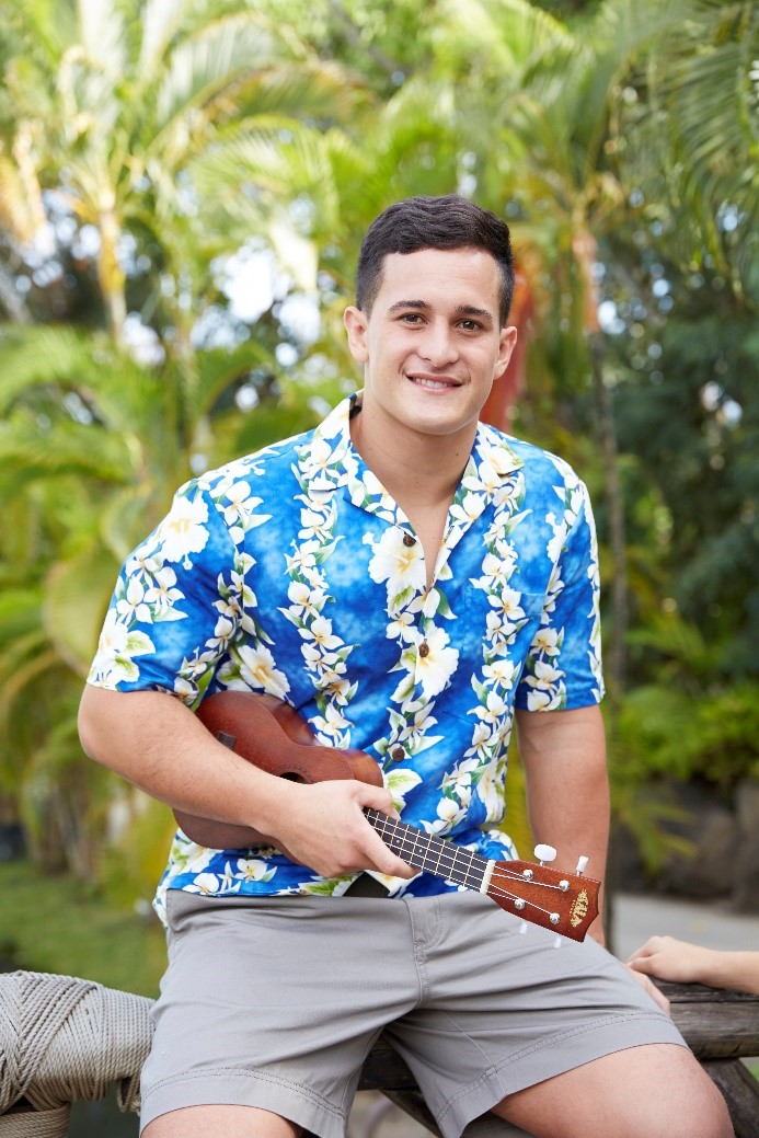 Man dressed in aloha shirt