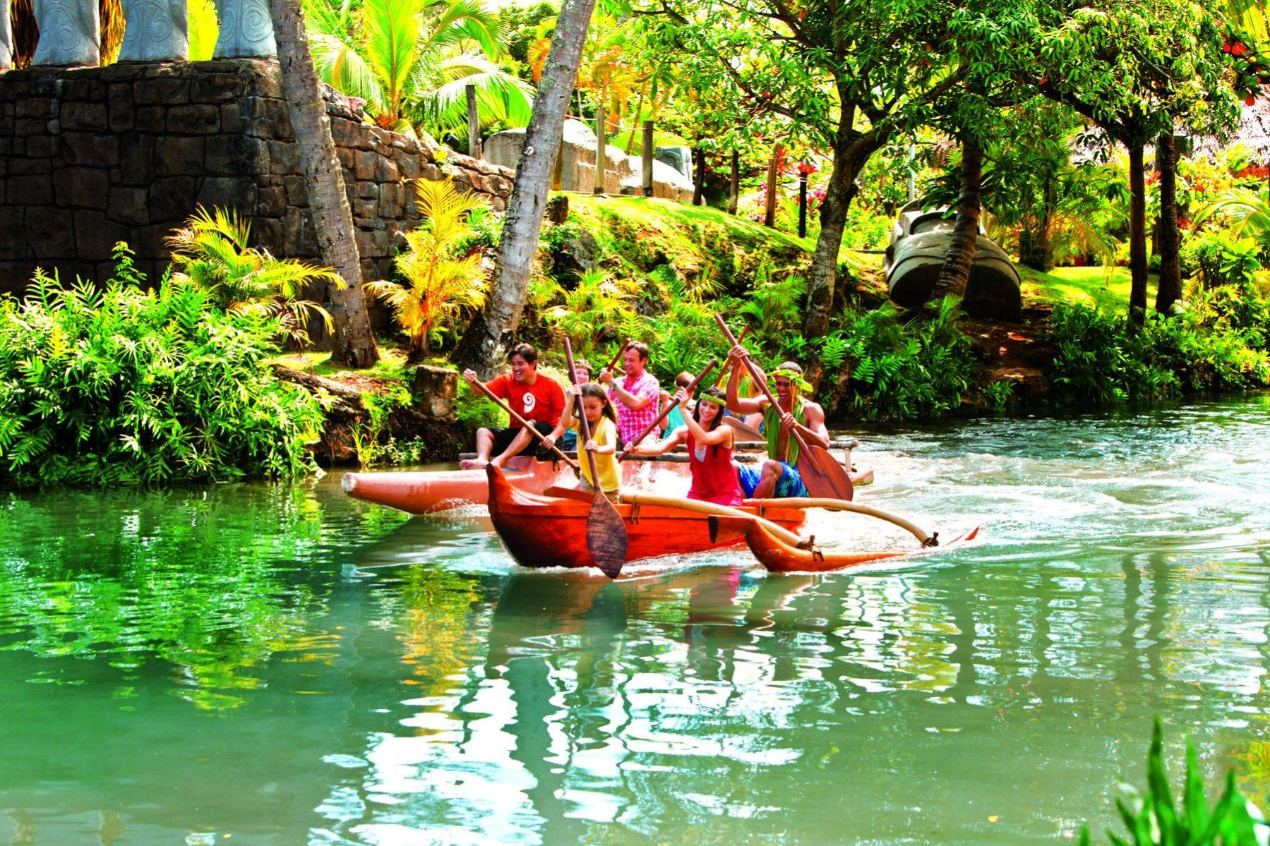 Visitors can paddle canoes around lagoon at PCC