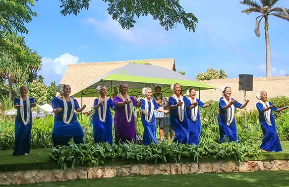 Laie's own Hula Halau O Kekela, led by kumu Kekela Miller (center, front row), frequently support Polynesian Cultural Center and local community activities.