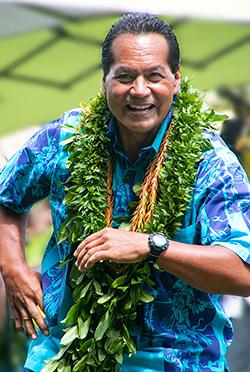 PCC retiree and kumuhula Keith Awai shares an impromptu hula during the 2019 Moanikeala Hula Festival.