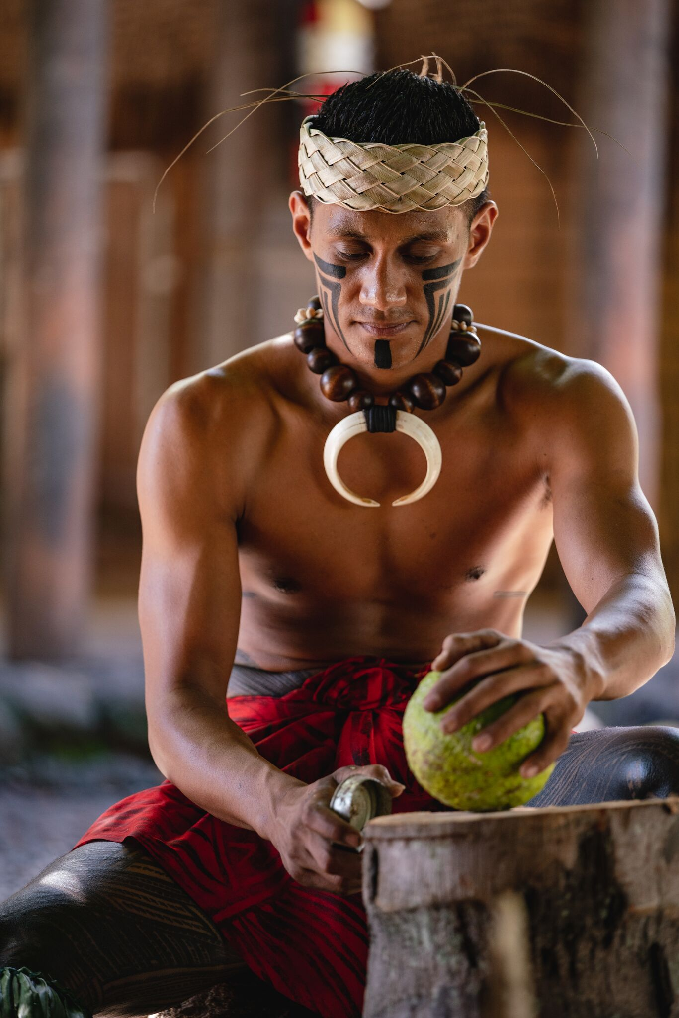 Picture: Preparing breadfruit in the Samoan Village at the Polynesian Cultural Center