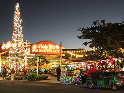 photograph of the Hukilau Marketplace at Christmas time