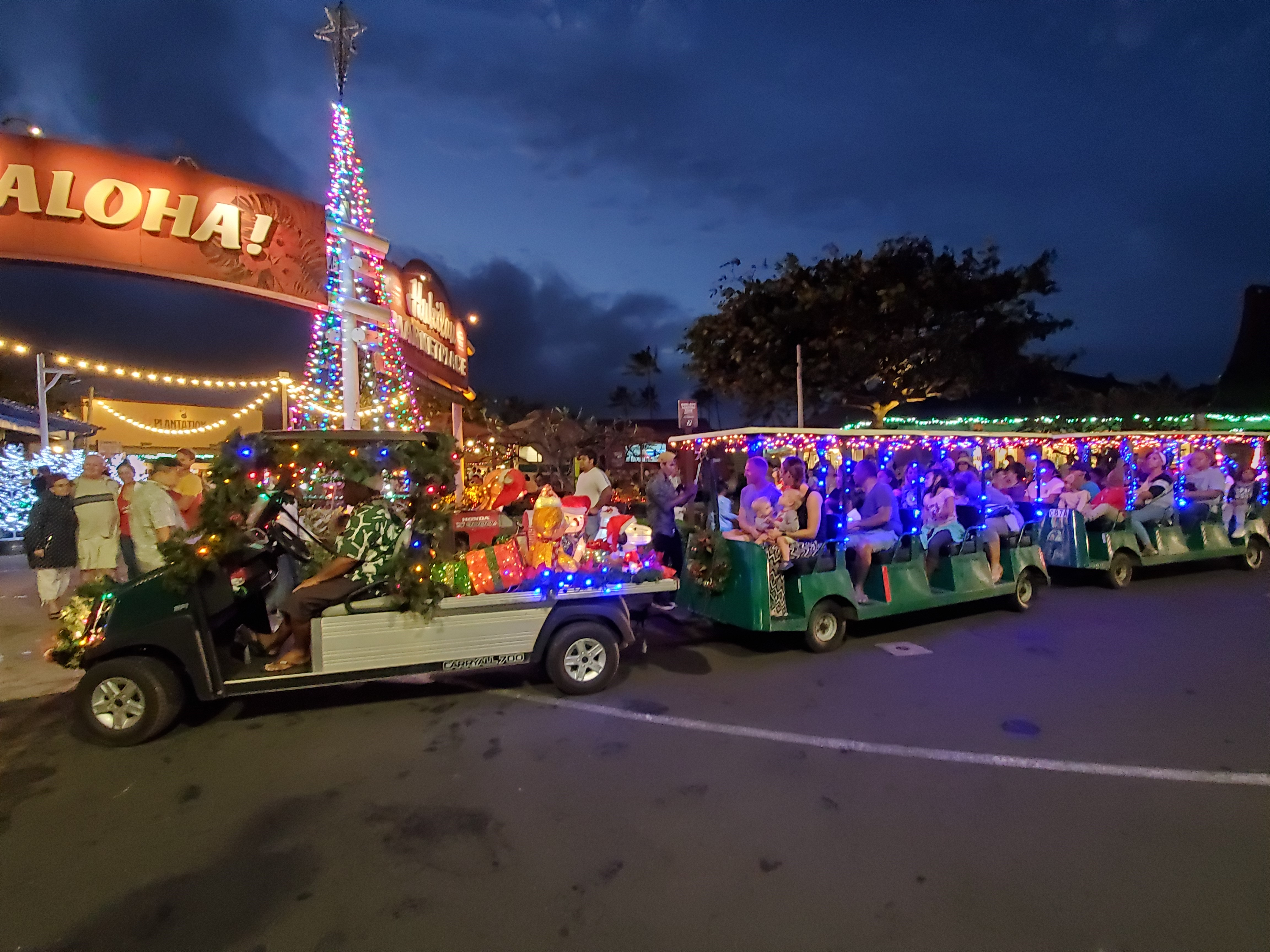 A photo of the Christmas Train at the Polynesian Cultural Center's Christmas at the Hukilau Marketplace