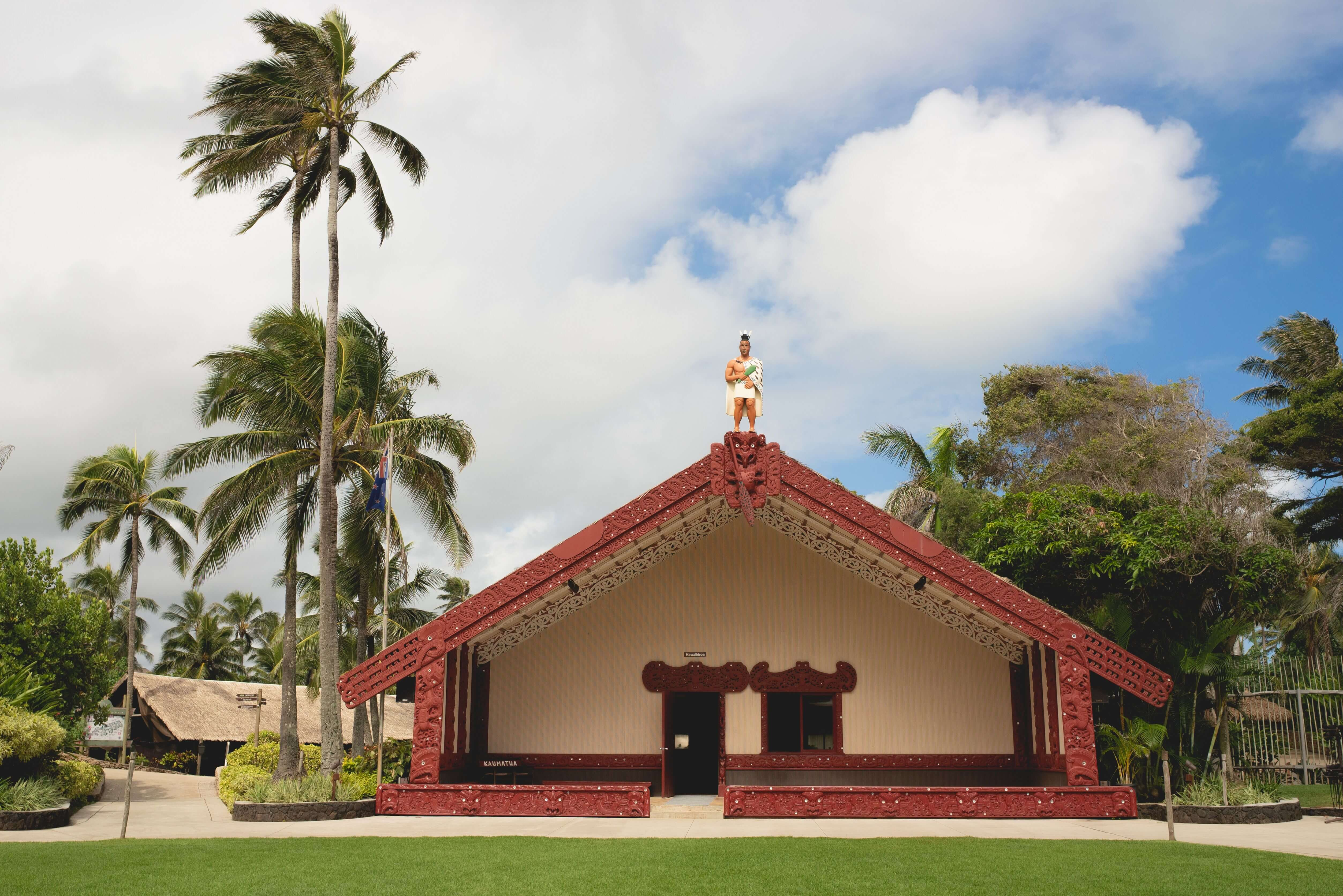 "A front view of the Whare Runanga or ""house of learning"""