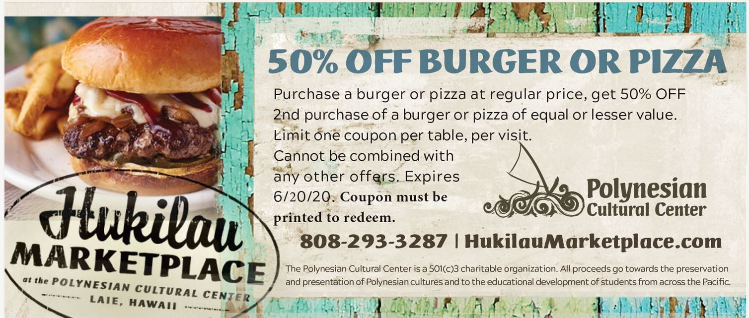50% off burger or pizza offer limited time