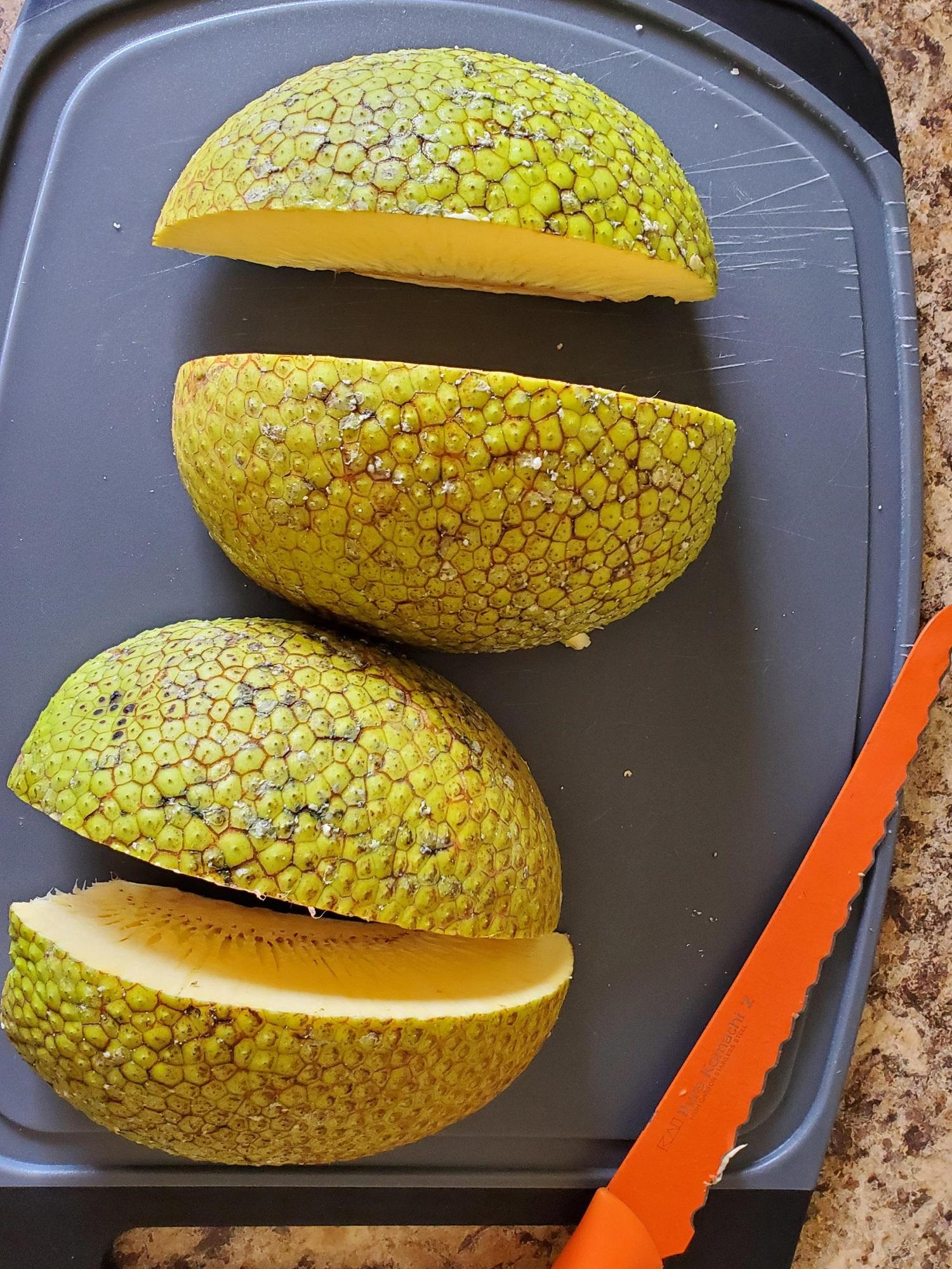 photo of a quartered ulu fruit