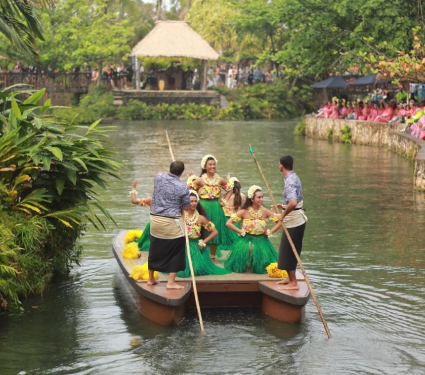 Picture showcasing the Tahiti dancers during Huki a Canoe Celebration