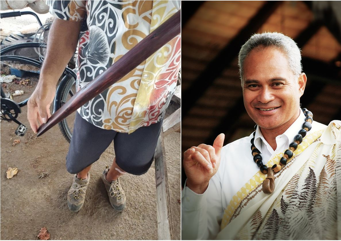 two images showcasing the o'o, a traditional digging tool of the Hawaiians and a photo of Ray Mokio, one of the carvers at the Polynesian Cultural Center