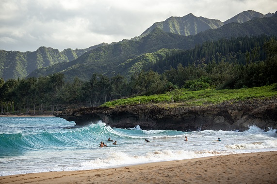 Pounders Beach on eastside, also called the windward side, of the island of Oahu