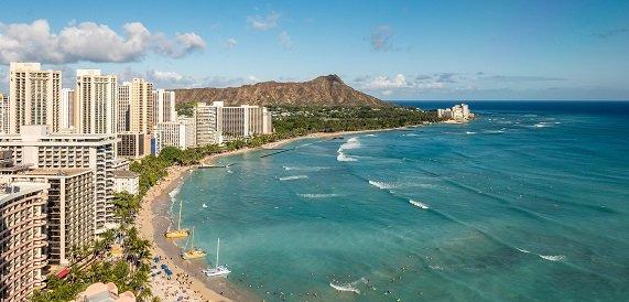 Waikiki beach has many hotels available.