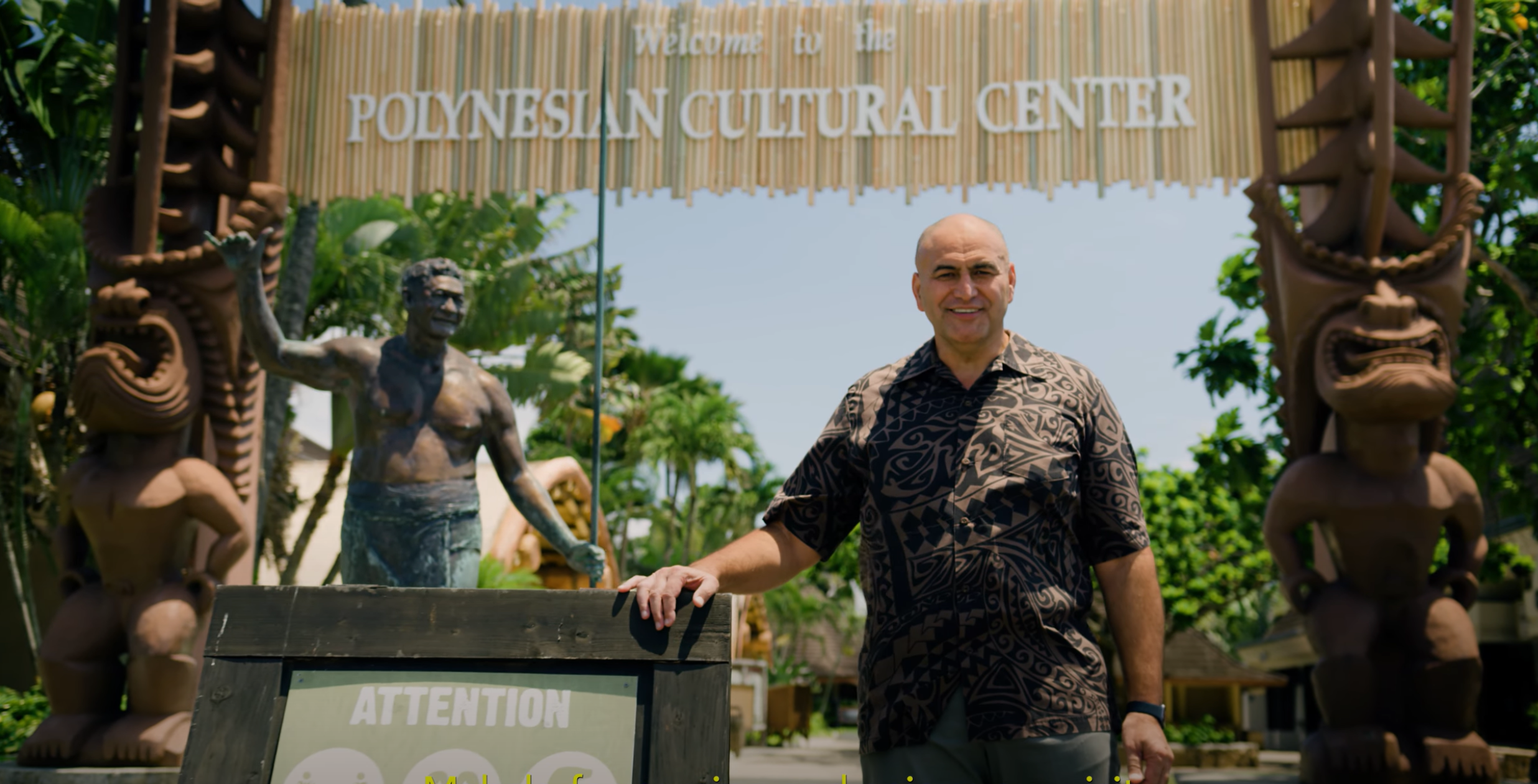 P. Alfred Grace, President of the Polynesian Cultural Center greets visitors in a Covid-19 specific Health & Safety video. The Center plans to fully reopen in March, 2021