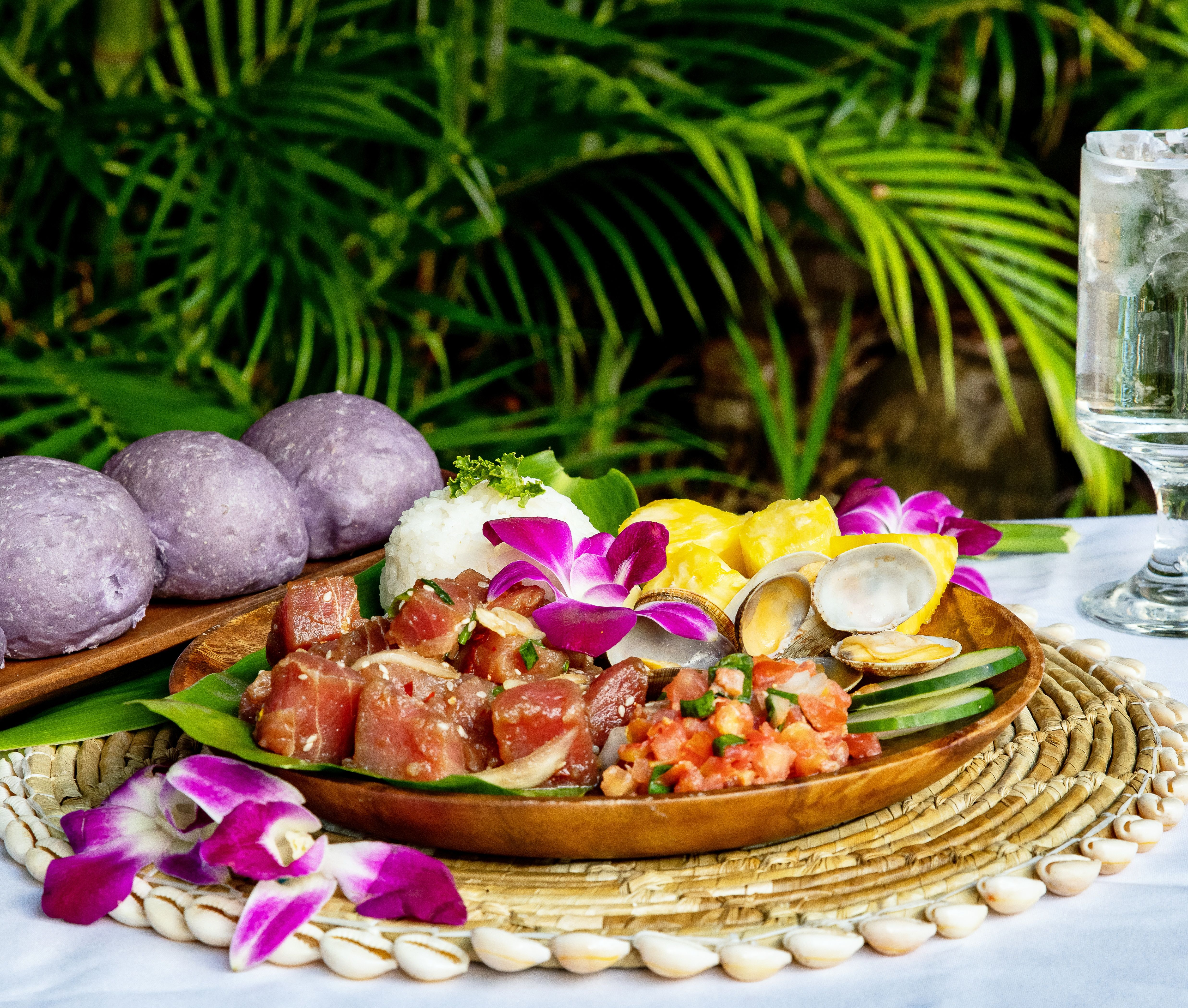 plate of luau food selection from the Alii Luau at the Polynesian Cultural Center