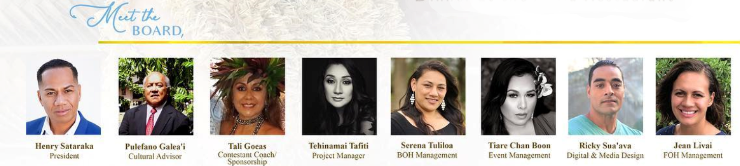 a list of the directors selected to serve at the 2020 Miss Samoa - Hawaii contest