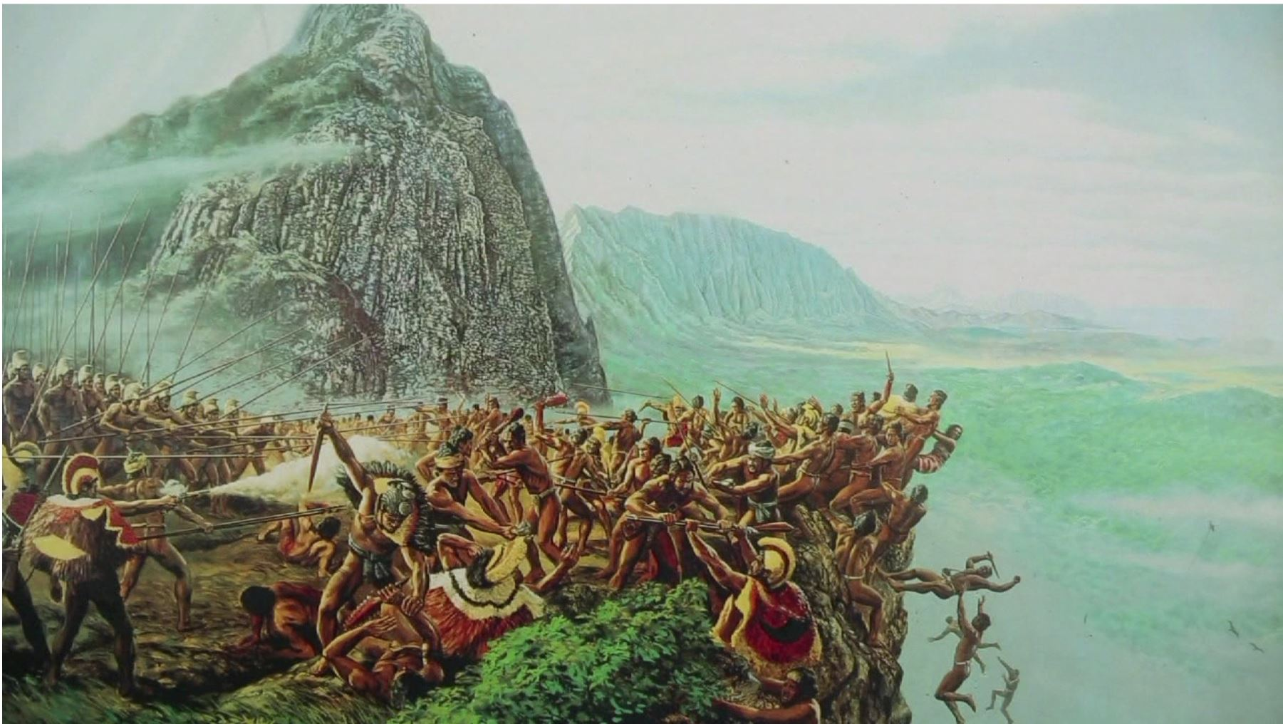 Painting depicting the battle of Nuuanu as it comes to it's conclusion along the Pali Lookout on the island of Oahu where Kamehameha's army overpowers the army of King Kalanikupele and literally pushes them over the edge to their deaths.