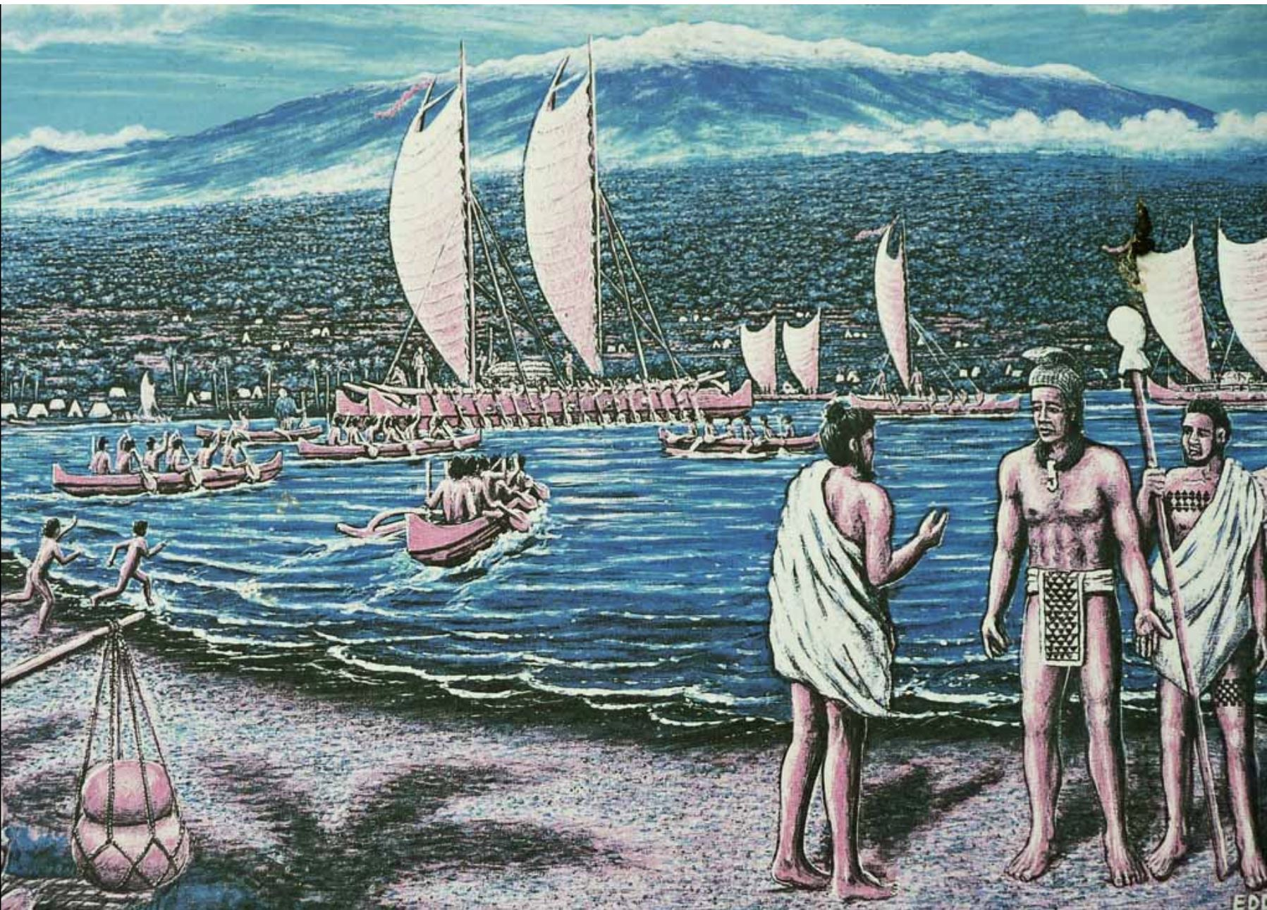 Painting depicting the murder of King Kiwala'o who was Kamehameha's cousin showing Kiwalao along the shoreline with the two priests sent to kill him and a fleet of Kamehameha's sailing canoes behind them